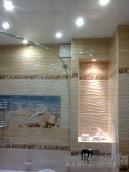 Сборка короба из обшивка влагостойким ГКЛ, Укладка плитки, установка светильников, ванны ,...